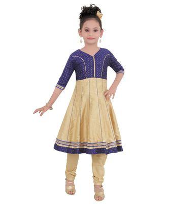 Blue Embroidered Art Silk Kids Salwar Suits