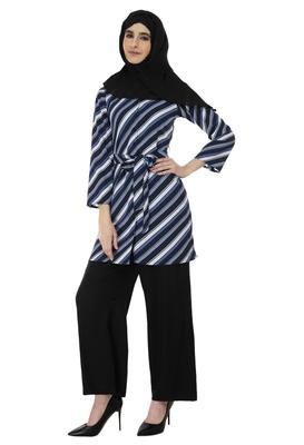 Blue Diagonal Stripe Shrug By Ruqsar
