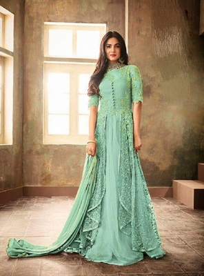 Sky-blue embroidered santoon salwar