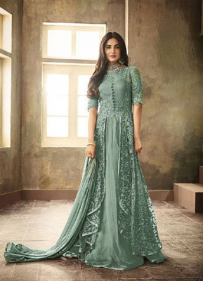 Green embroidered santoon salwar