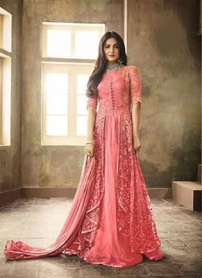 Hot-pink embroidered santoon salwar