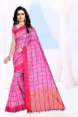 pink plain Khadi Cotton Saree with blouse