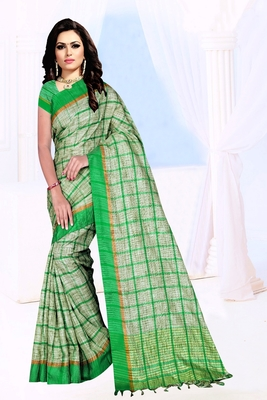 green plain Khadi Cotton Saree with blouse
