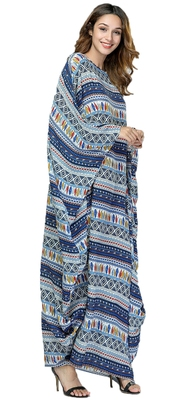 Multi Color Rayon Soft Cotton Bat Wing Style Printed Kaftan For Women