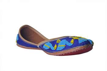 Hand Embroidered blue slip on  Juttis