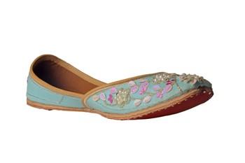 Embroidered turquoise slip on  Juttis