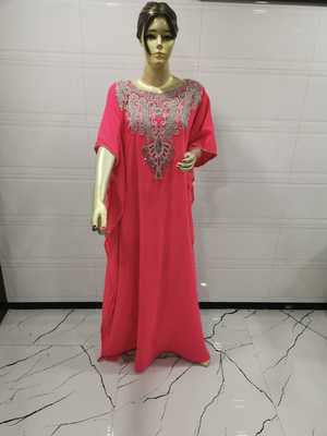Coral Embroidered Georgette Islamic Kaftans