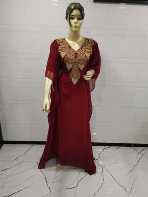Maroon Embroidered Georgette Islamic Kaftans