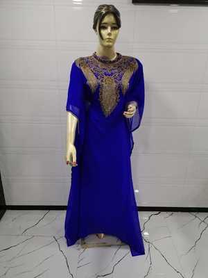 Blue embroidered georgette islamic-kaftans