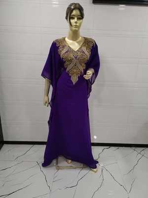 Purple embroidered georgette islamic-kaftans