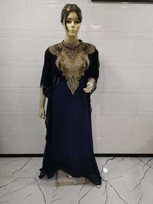 Navy blue embroidered georgette islamic-kaftans