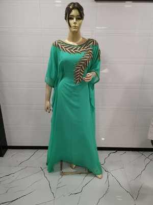 Sea green embroidered georgette islamic-kaftans