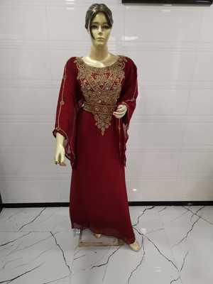Maroon embroidered georgette islamic-kaftans
