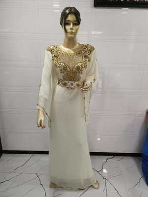 White Embroidered Georgette Islamic Kaftans