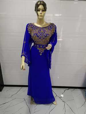 Royal blue embroidered georgette islamic-kaftans