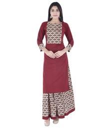 red plain Long Kurta Skirt sets