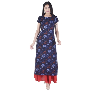 blue printed Long Kurta Skirt sets