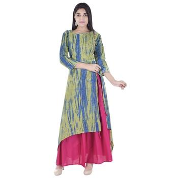 multicolor plain Long Kurta Skirt sets
