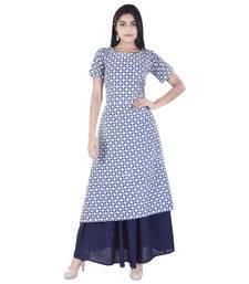 blue plain Long Kurta Skirt sets