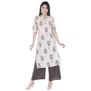 white plain Long Kurta Palazzo sets