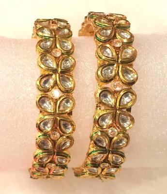 Gold plated Kundan bracelet  bangles kada pair