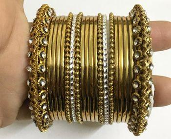 Antique Gold tone bangles bracelet set