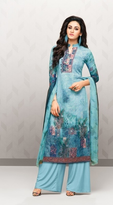 Aqua-blue printed cotton salwar