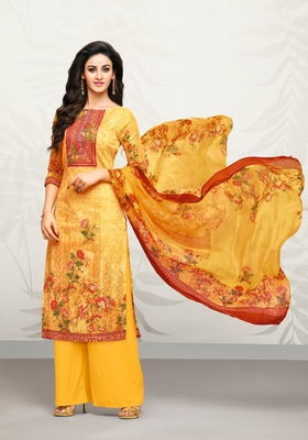 Yellow printed cotton salwar