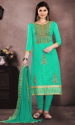 Sea-green embroidered cotton salwar