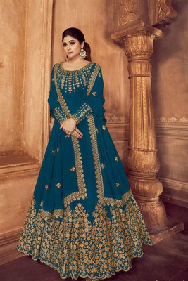 Teal-green embroidered faux georgette salwar