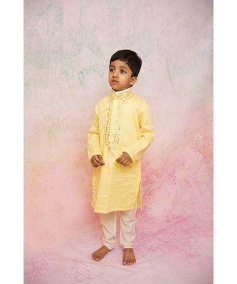 yellow mirror kurta