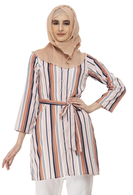 Peach Vertical Stripe Shrug