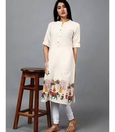 OFF WHITE COTTON STRAIGHT PRINTED KURTI
