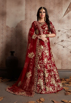 RedEmbrodery Satin Attractive Lehngha Lehngha choli with Blouse
