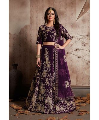 Purple Embrodery Satin Attractive Lehngha Lehngha choli with Blouse