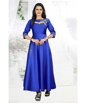 Blue Embroidery Tafeta Satin With Inner Full Stiched Anarkali Gown