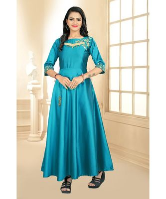 Sky Embroidery Tafeta Satin With Inner Full Stiched Anarkali Gown