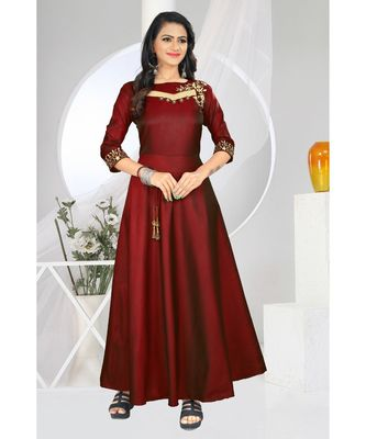 Marron Embroidery Tafeta Satin with Inner Full Stiched Anarkali Gown