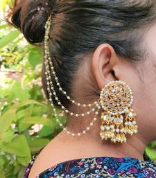 Gold Plated Pearl & Kundan Bahubali Earrings with Hair Chain