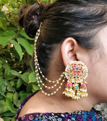 Multi-colour Pearl & Kundan Bahubali Earrings with Hair Chain