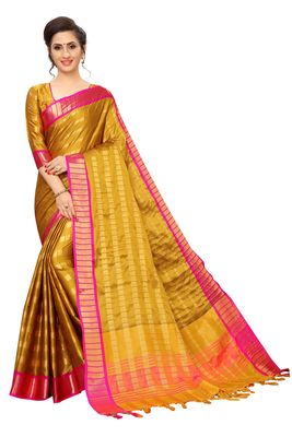 Mustard woven silk cotton saree with blouse