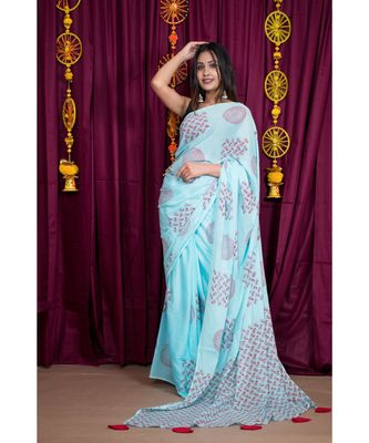 turquoise printed cotton saree with blouse