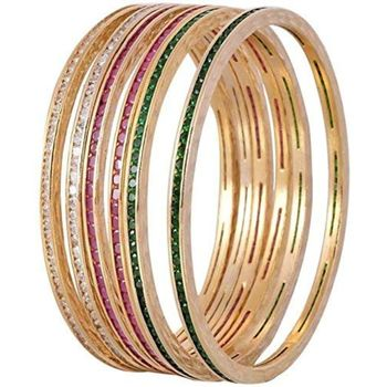 Beautiful Cz/Ad Studded Gold Plated Traditional Red Green White American Diamond Bangles Set For Women