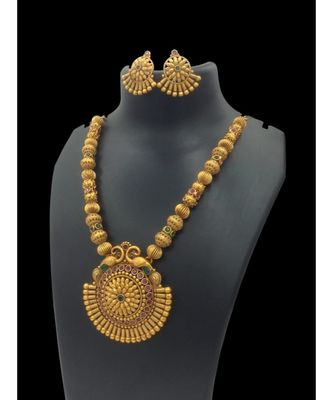 Gold Plated South Indian Traditional  Temple Necklace Set