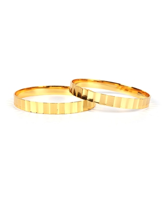 Gold Plated Traditional Designer Plain Bangles Set Of 2