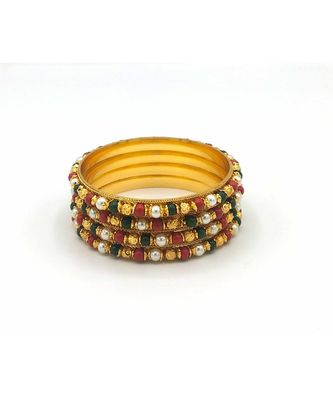 Traditional  Gold Plated Bangles with multi colored bead set of 4