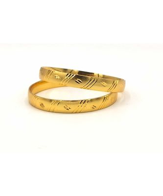 Traditional Ethnic Matt Gold Plated Designer Bangle Set Of 2