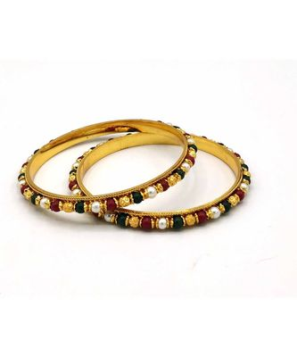 Traditional  Gold Plated Bangles with multi colored bead  set of 2