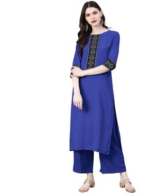 Women's Royal Blue Colour Solid Straight Rayon Kurta With Palazzo