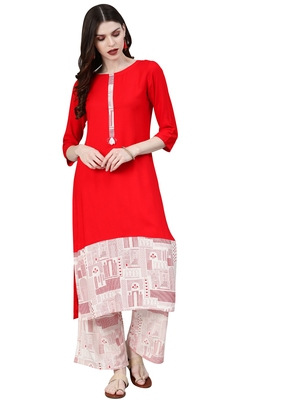 Women's Red Colour Khadi Print Straight Rayon Kurta With Palazzo